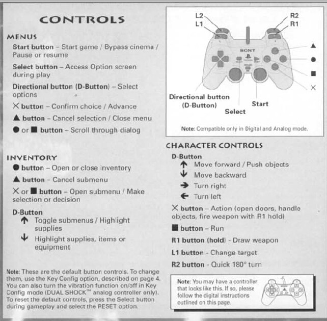 Dino Crisis Game Controls - PS1
