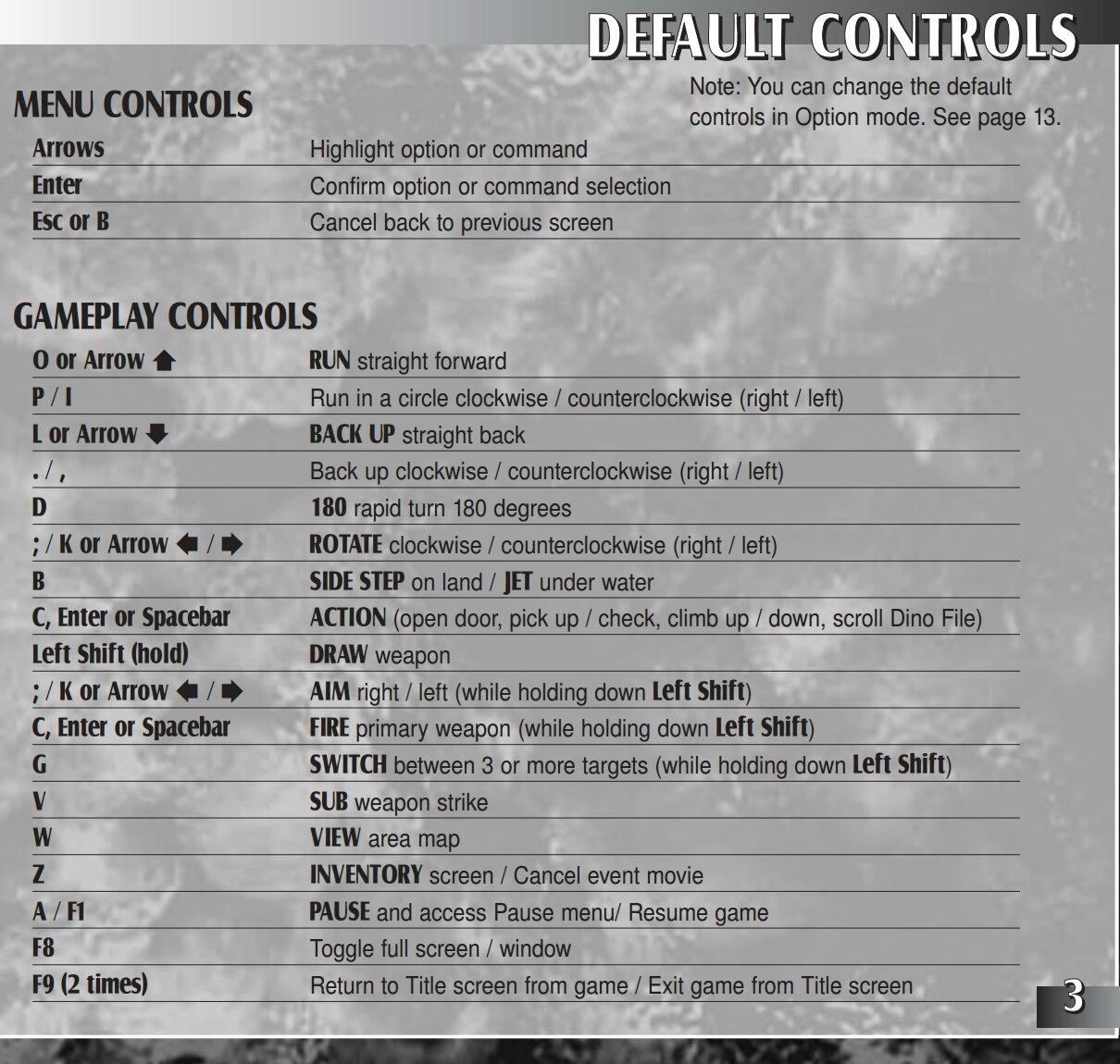 Dino Crisis 2 - PC Controls